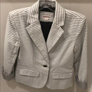 White and gray striped blazer jacket